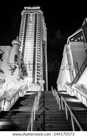 ATLANTIC CITY - MAY 30: The Trump Taj Mahal at night on May 30, 2014 in Atlantic City, New Jersey. The Trump Taj Mahal is a hotel and casino in Atlantic City. - stock photo