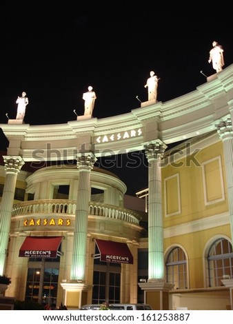 ATLANTIC CITY, NEW JERSEY - JUNE 1: Caesar's Palace in Atlantic City, New Jersey, as seen on June 1, 2006. It is a hotel and casino located on the Boardwalk in Atlantic City. - stock photo