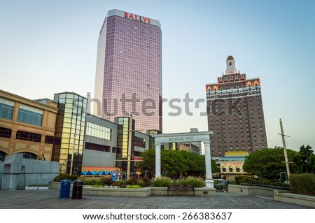ATLANTIC CITY NEW JERSEY - SEPTEMBER 2: A quiet boardwalk just before dusk on September 2 2014 in Atlantic City New Jersey. - stock photo
