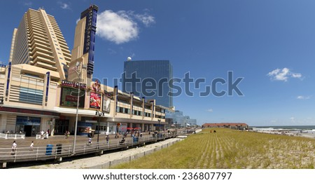 Atlantic City, New Jersey, USA - Aug 24, 2014: The Showboat Casino with the Revel Casino behind it in Atlantic City, New Jersey, USA on Aug 24, 2014 - stock photo