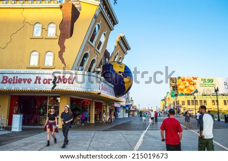 ATLANTIC CITY, NEW JERSEY/USA -September 2: A quiet boardwalk on September 2 2014 in Atlantic City after the closing of several casinos in the news. - stock photo