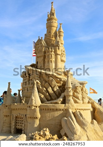 Atlantic City,NJ/USA-July 28,2014: Sand sculpting competition has evolved into a major performing arts attraction in Atlantic City, NJ. This piece of sand art was made by American Rich Varano. - stock photo