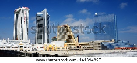 ATLANTIC CITY - SEPTEMBER 9: Skyline of Atlantic City September 9, 2012 in Atlanic City, NJ. The city received damage during Hurricane Sandy but is since on the rebound. - stock photo