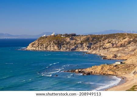 Atlantic Ocean coast. Landscape of Gibraltar strait, Morocco - stock photo