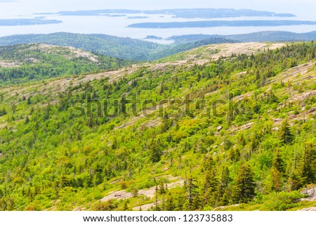 Atlantic Ocean coastal islands from Cadillac Mountain  at Acadia National Park in Maine - stock photo