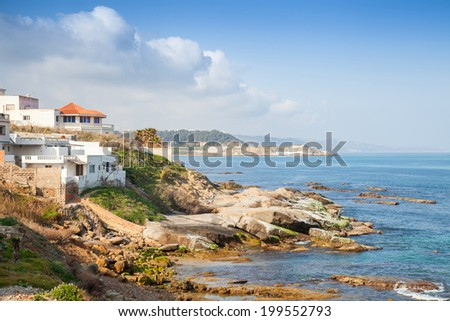 Atlantic Ocean coastal landscape, Gibraltar strait, Morocco - stock photo