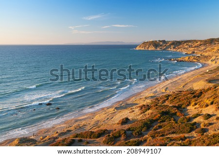Atlantic Ocean coastal landscape. Morocco,  Gibraltar strait - stock photo