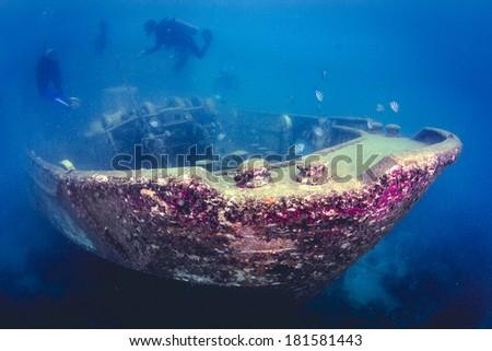 Atlantic Princes Shipwreck Underwater in the Caribbean Sea, Bayahibe, Dominican Republic. - stock photo