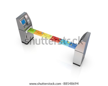 ATM concept.Isola?ed on white background.3d rendered. - stock photo