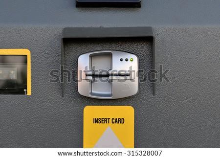 ATM insert card machine detail. Cash point close up - stock photo