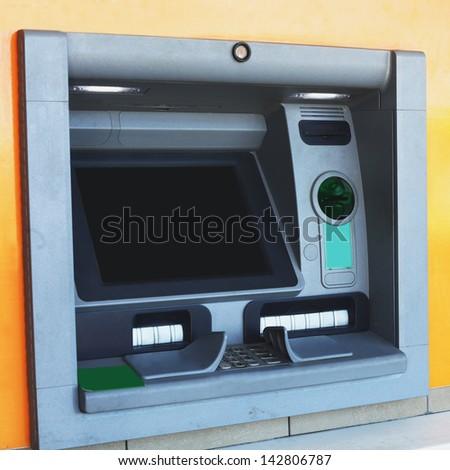atm machine bank cash banking finance money business card credit automatic  technology - stock photo