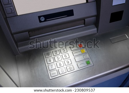 ATM machine closeup, keypad numbers - stock photo