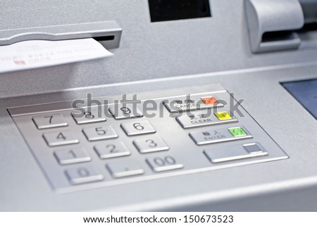 ATM machine in bank - stock photo