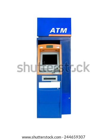 Atm Machine Isolated on White. - stock photo