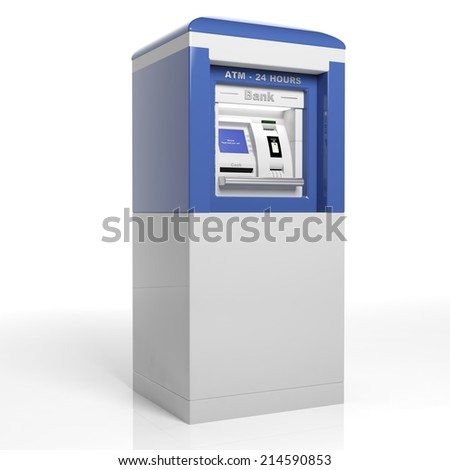 Atm machine isolated on white background  - stock photo