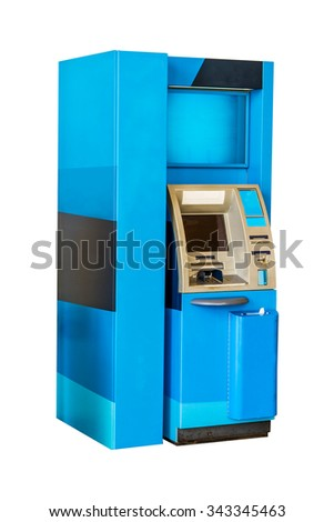 Atm Machine Isolated on White with clipping path. - stock photo