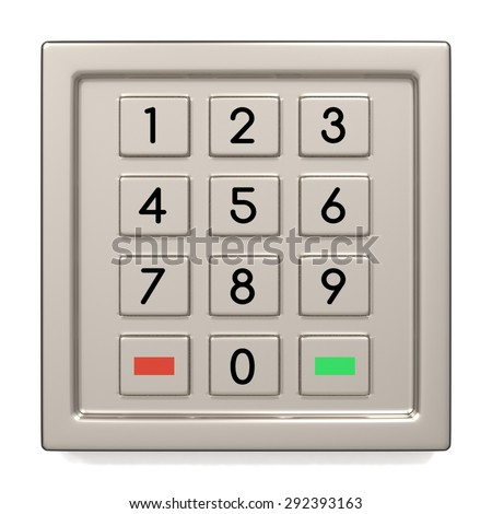 Atm machine keypad. Numbers buttons with additional red, yellow and green. Pin code safety, banking, electronic cash withdrawal, bank account access concept. - stock photo
