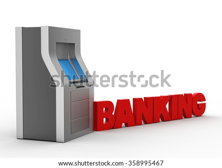 ATM machine with banking concept - stock photo
