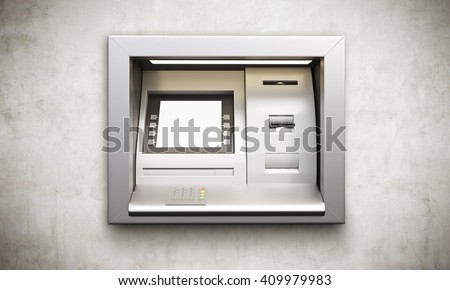 ATM machine with blank display built into conrete wall. Mock up, 3D Rendering - stock photo