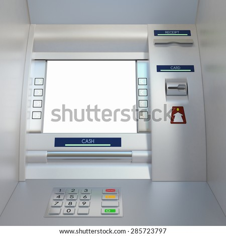Atm machine with display screen, buttons, card reader, cash dispenser and receipt printer. Pin code safety, automatic banking, electronic cash withdrawal, bank account access concept. - stock photo