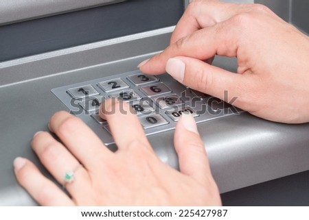 ATM PIN code.  - stock photo
