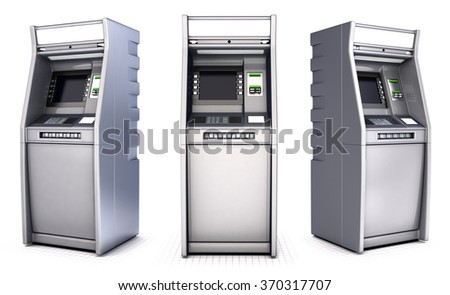 ATM series of images. Isolated on white - stock photo