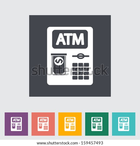 ATM. Single flat icon.  - stock photo