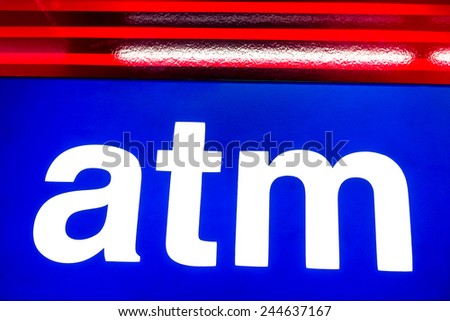 Atm symbol for cash withdrawal - Concept of international banking around the world - stock photo