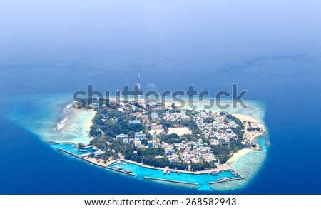 Atolls of Maldives (Villingili Island) - stock photo