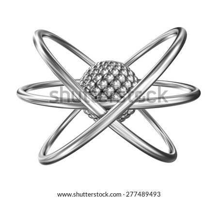 Atom - relistic model from steel over white background - stock photo