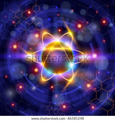 atom symbol, technology background & chemical formulas. Bitmap copy my vector ID 81171769 - stock photo
