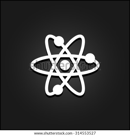 Atom. White flat simple icon illustration with shadow on a black background. Symbol for web and mobile applications for use as logo, pictogram, icon, infographic element - stock photo
