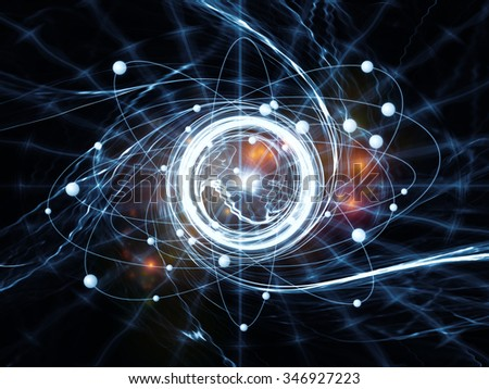 Atom Within series. Interplay of electron orbits and fractal pattern on the subject of science and technology - stock photo