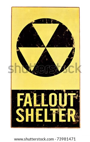 atomic nuclear fallout shelter sign with radiation symbol isolated on white - stock photo