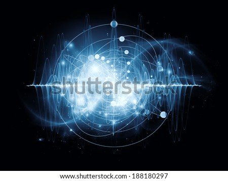 Atomic series. Abstract concept of atom and quantum waves illustrated with fractal elements - stock photo