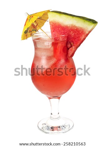 Atomic Watermelon cocktail isolated on white background. It's made from 1 oz melon liqueur,1 oz vodka,1 oz sweet and sour mix - stock photo