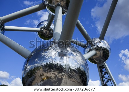 atomium monu,emt in Brussels - stock photo
