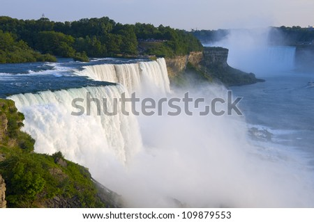Atop American Falls from observation deck at Niagara Falls State Park in New York - stock photo