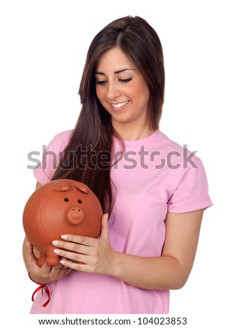 Atractive girl with a big piggy-bank isolated on white background - stock photo