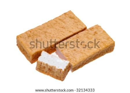 Atsuage, or thick deep-fried bean curd - stock photo
