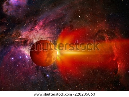 "Attack of the asteroid on the Lunar ""Elements of this image furnished by NASA  - stock photo"
