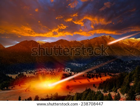 """Attack of the asteroid on the valley """"Elements of this image furnished by NASA """"  - stock photo"""
