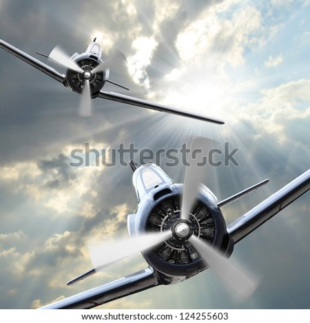 Attacking fighters. Retro style picture with war theme. - stock photo
