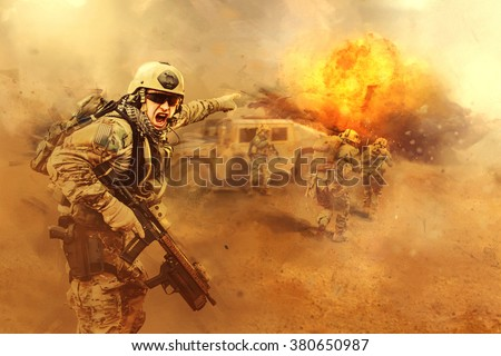 attacking the enemy - stock photo