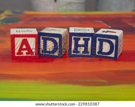 Attention Deficit Hyperactivity Disorder (ADHD) alphabet blocks - stock photo