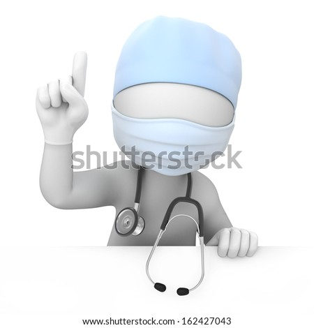 attention! doctor points a finger up. image with a work path - stock photo