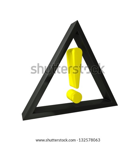 Attention icon displays an exclamation point and is a precaution - stock photo
