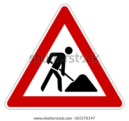 attention roadworks sign on white background - stock photo