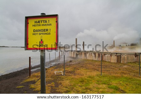 attention sign geothermal energy - stock photo