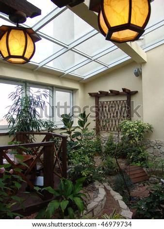 attic with plants - stock photo